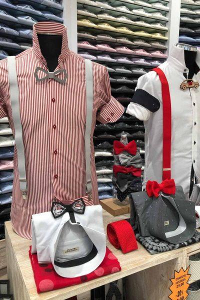 camicia a righe rosse e bianche